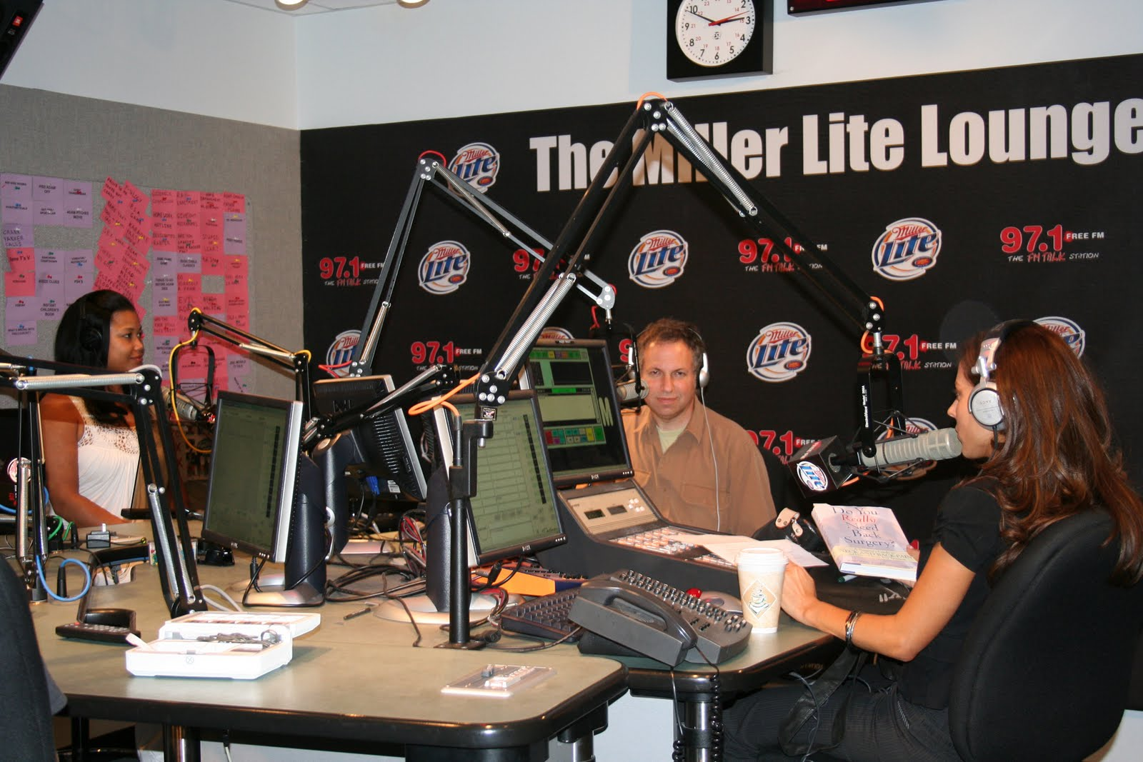 CBS Radio's 'Pain Free Hour' recorded at KLSX 97.1 FM Los Angeles. The show featured Aaron Filler with glamorous co-hosts Shirlee Jackson and Kerri Kasem (Casey Kasem's daughter).